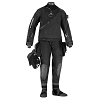 Scubapro Evertech Drysuit | The Evertech Dry Breathable is a premium trilaminate drysuit designed for avid divers and loaded with features. Built with a breathable fabric nylon/PU/nylon trilaminate blend, stitched and waterproof taped seams, a diagonal front waterproof zipper, a Si-Tech ring seal system for wrists and neck and Si-Tech valves, this fabric suit is top quality throughout. A pair of large cargo pockets, lightweight attached boots and blue suspenders are just a few of the standard features included with a suit designed to keep you warm, dry and comfortable in all water conditions. | Available at Scuba Center in Eagan, Minnesota
